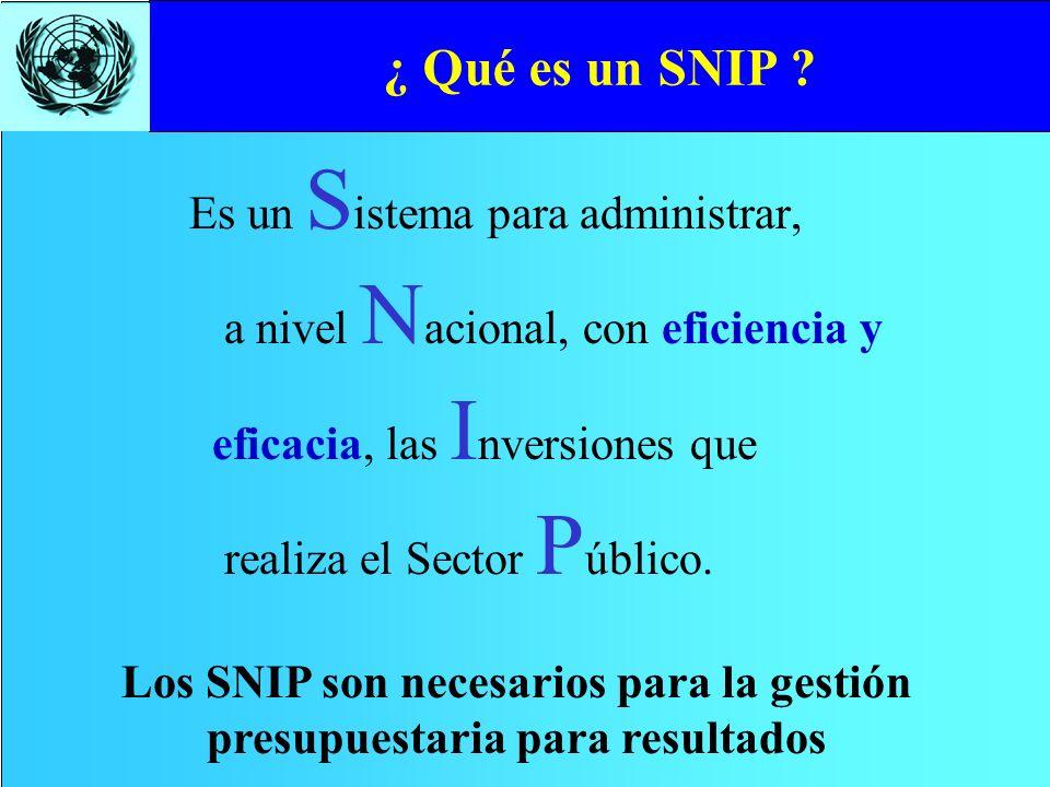 Los SNIP son necesarios para la gestión presupuestaria para resultados