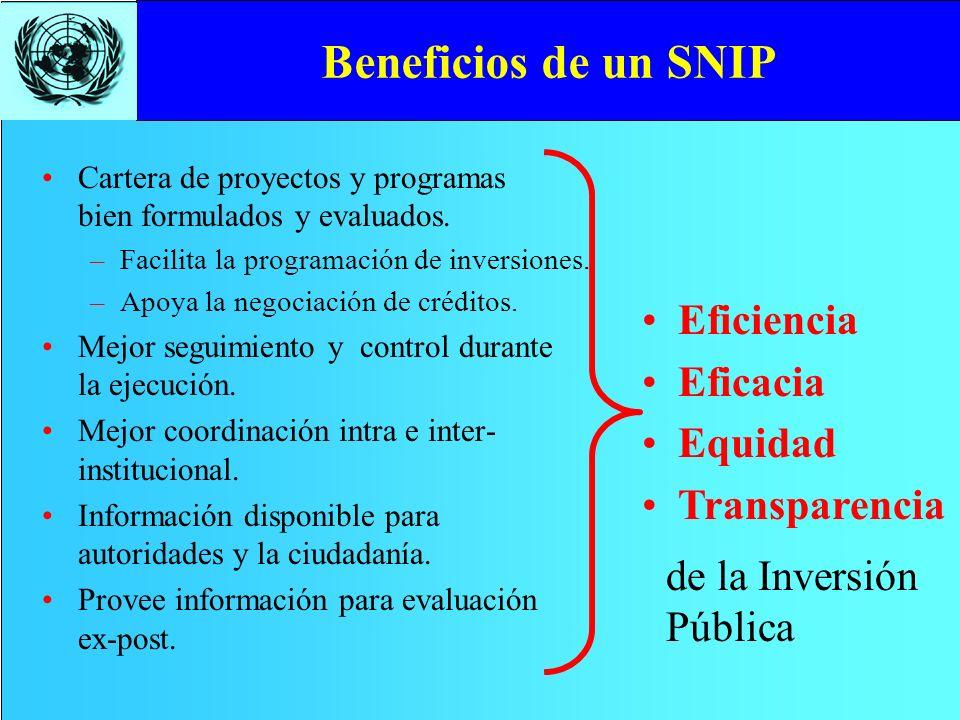 Beneficios de un SNIP Eficiencia Eficacia Equidad Transparencia