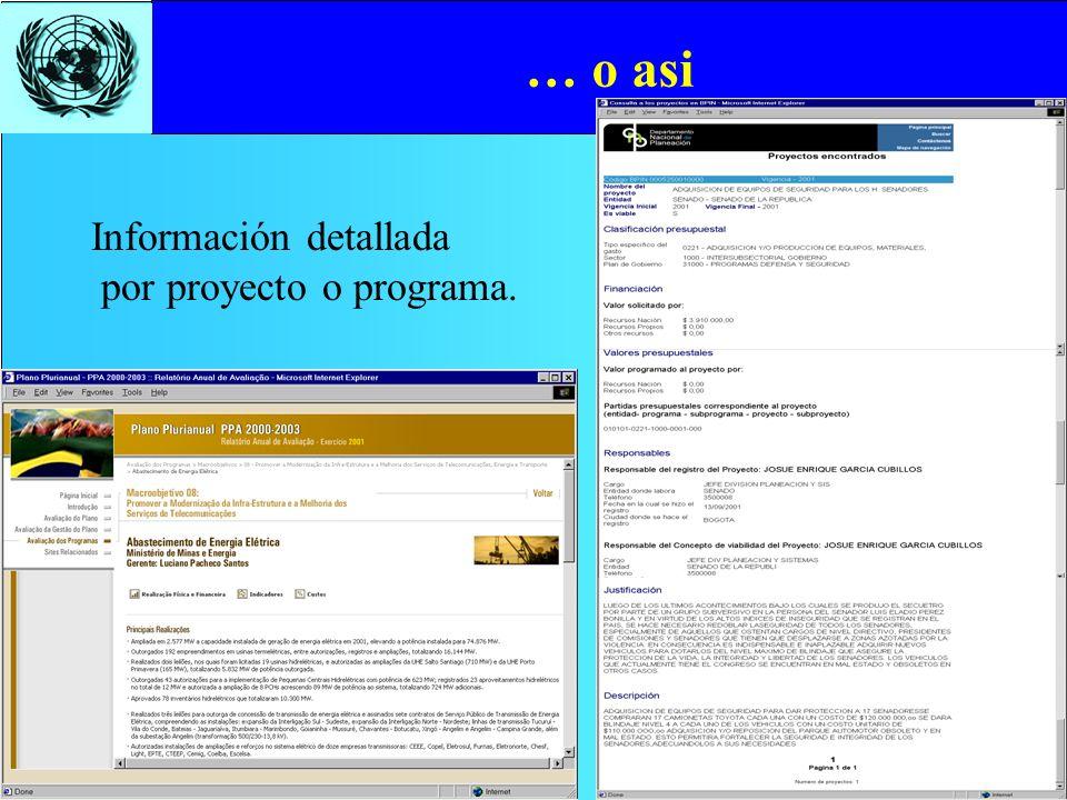… o asi Información detallada por proyecto o programa.