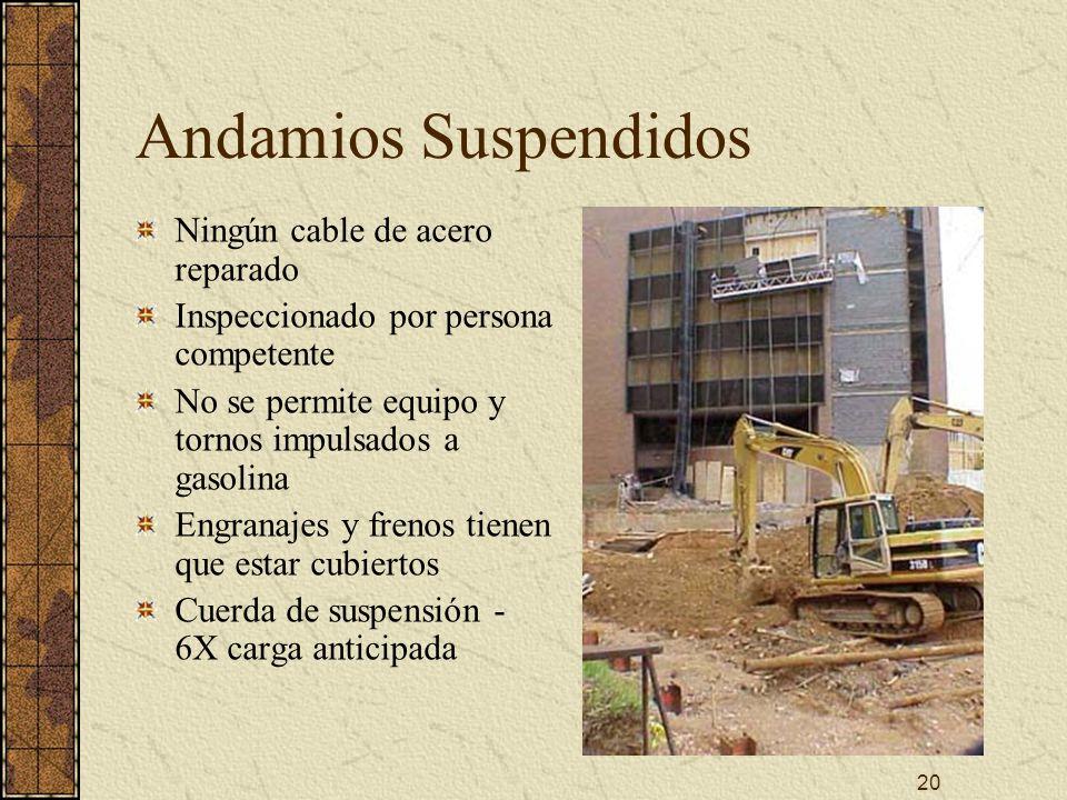 Andamios Suspendidos Ningún cable de acero reparado