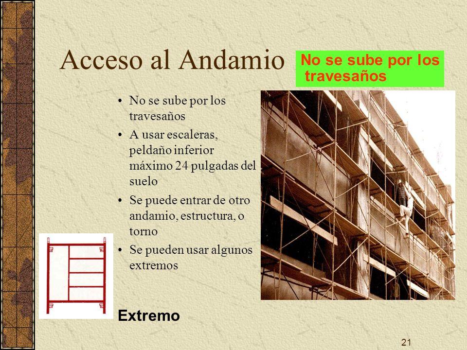 Acceso al Andamio No se sube por los travesaños Extremo
