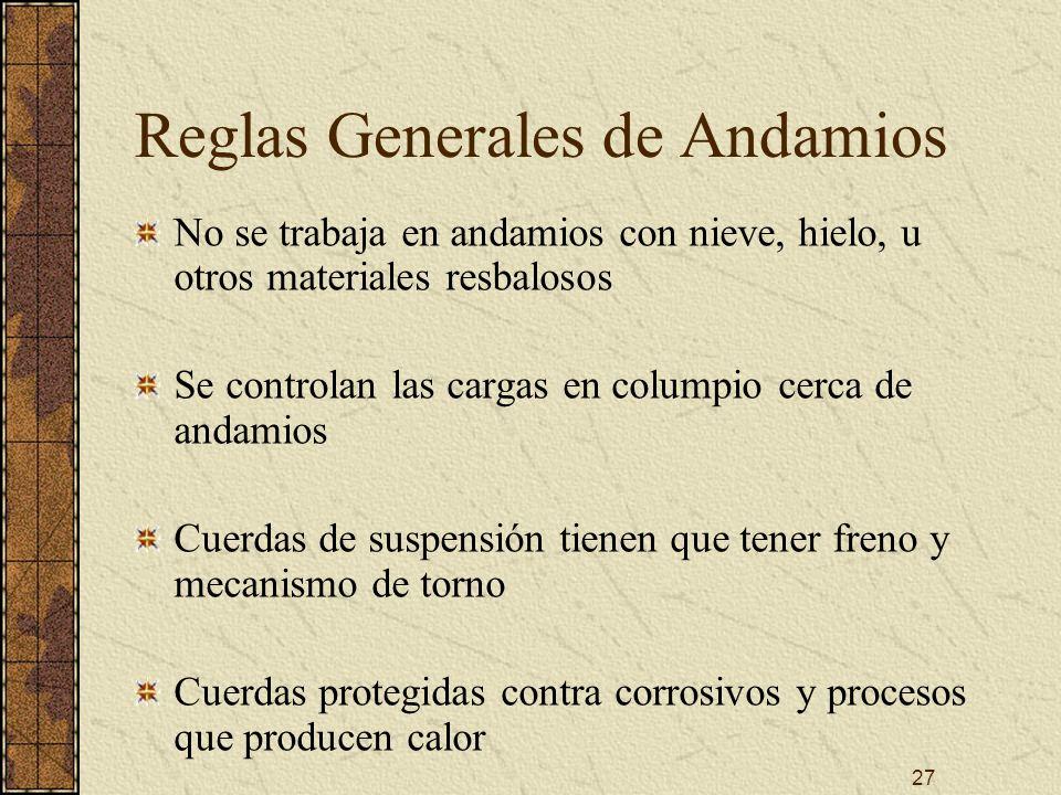 Reglas Generales de Andamios