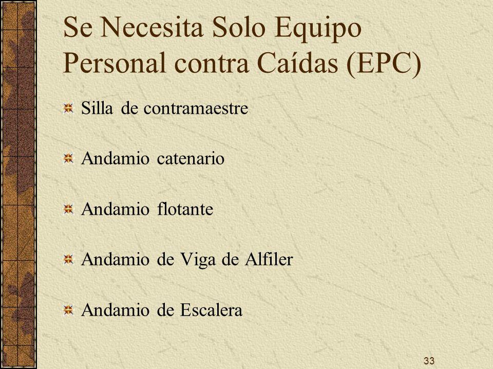 Se Necesita Solo Equipo Personal contra Caídas (EPC)