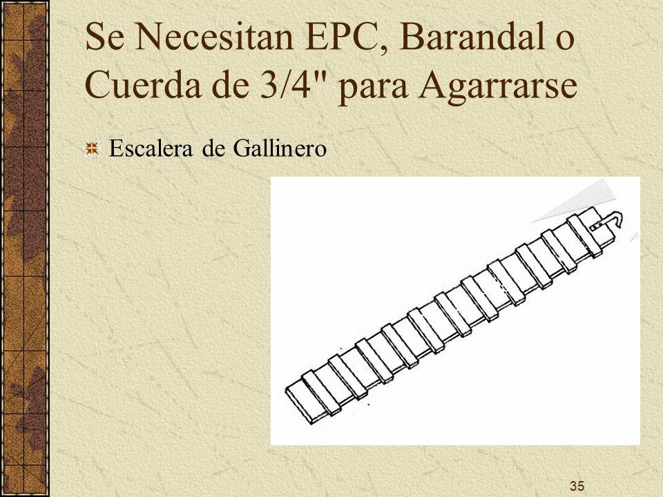 Se Necesitan EPC, Barandal o Cuerda de 3/4 para Agarrarse