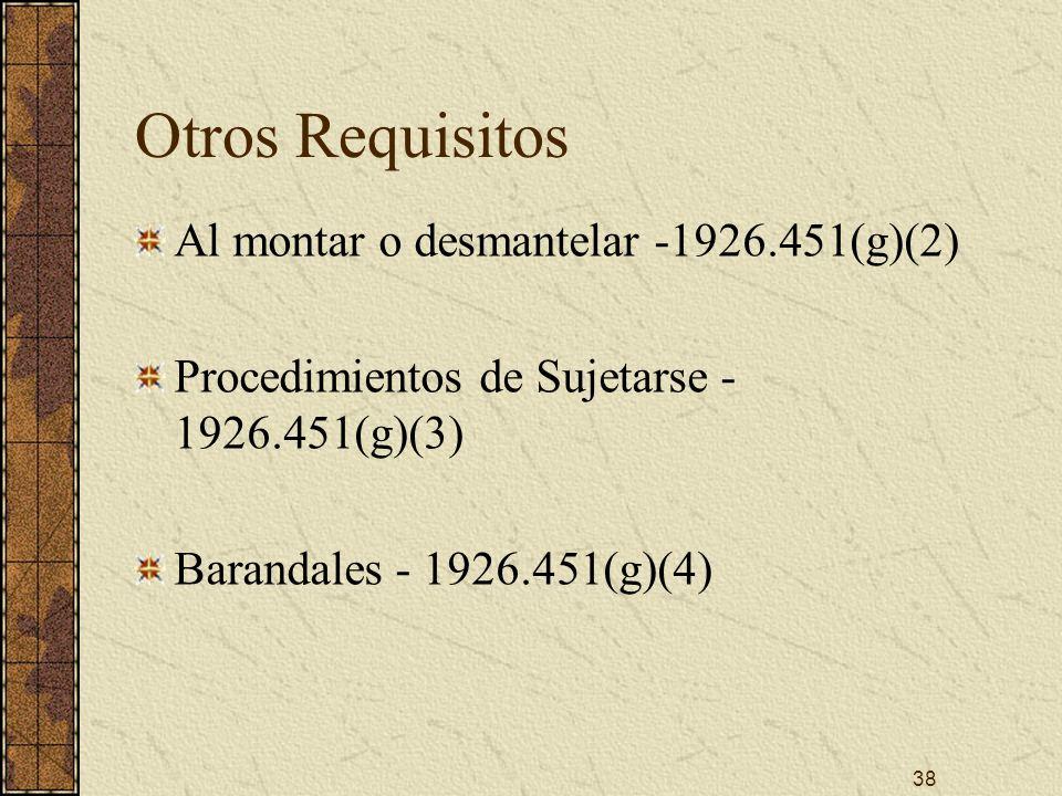 Otros Requisitos Al montar o desmantelar -1926.451(g)(2)