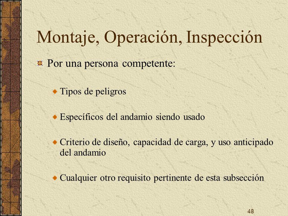 Montaje, Operación, Inspección