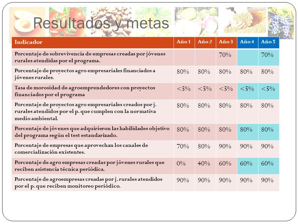 Resultados y metas 70% 80% <5% 90% 0% 40% 60% Indicador Año 1 Año 2
