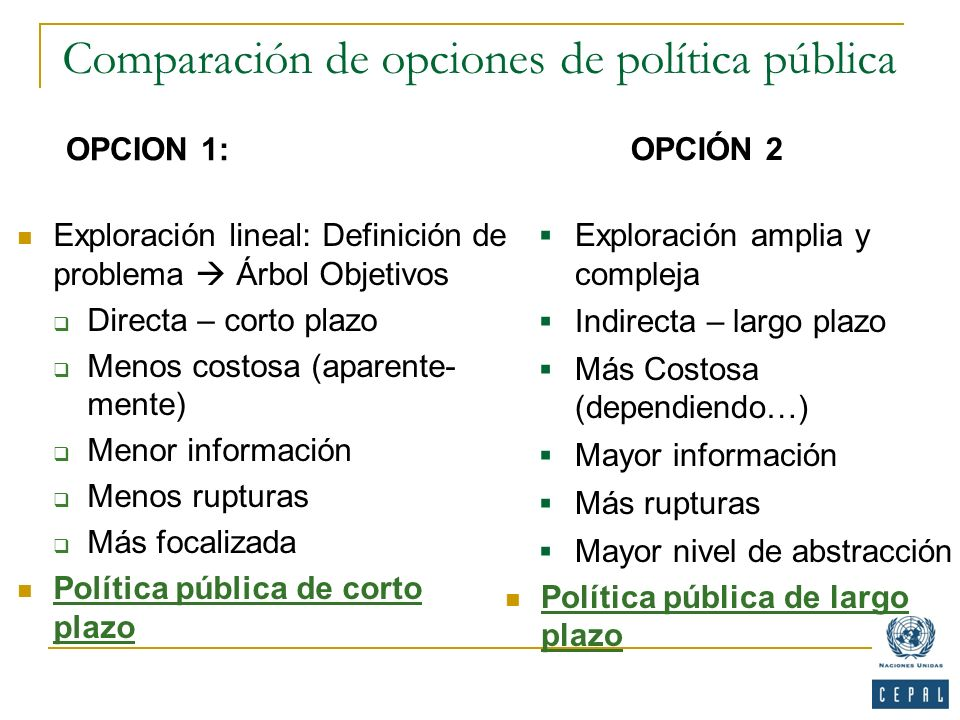 Comparación de opciones de política pública