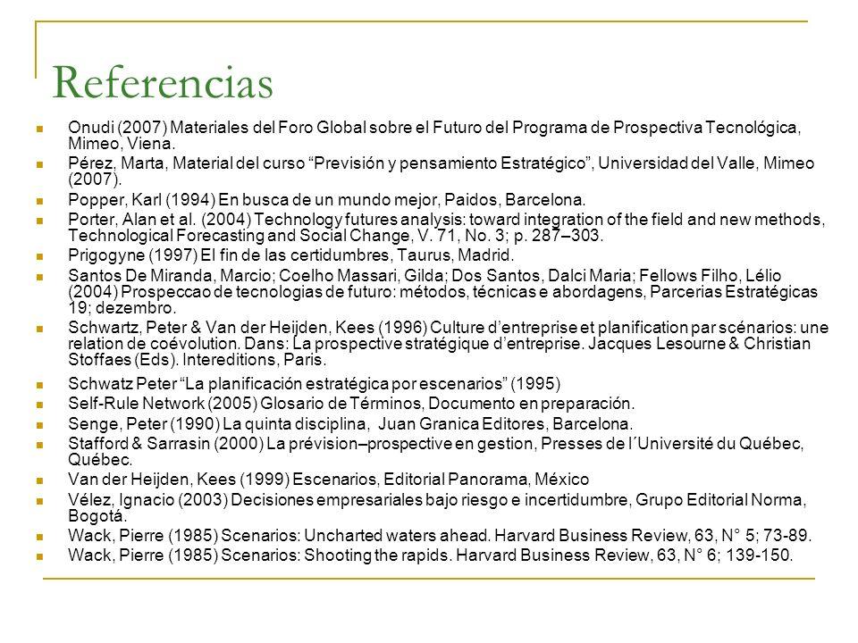 Referencias Onudi (2007) Materiales del Foro Global sobre el Futuro del Programa de Prospectiva Tecnológica, Mimeo, Viena.