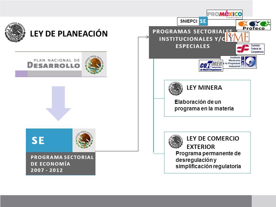 PROGRAMAS SECTORIALES INSTITUCIONALES Y/O ESPECIALES