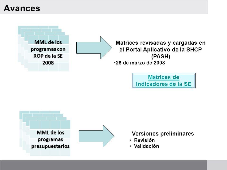 Avances MML de los programas con ROP de la SE 2008