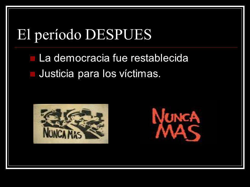 El período DESPUES La democracia fue restablecida