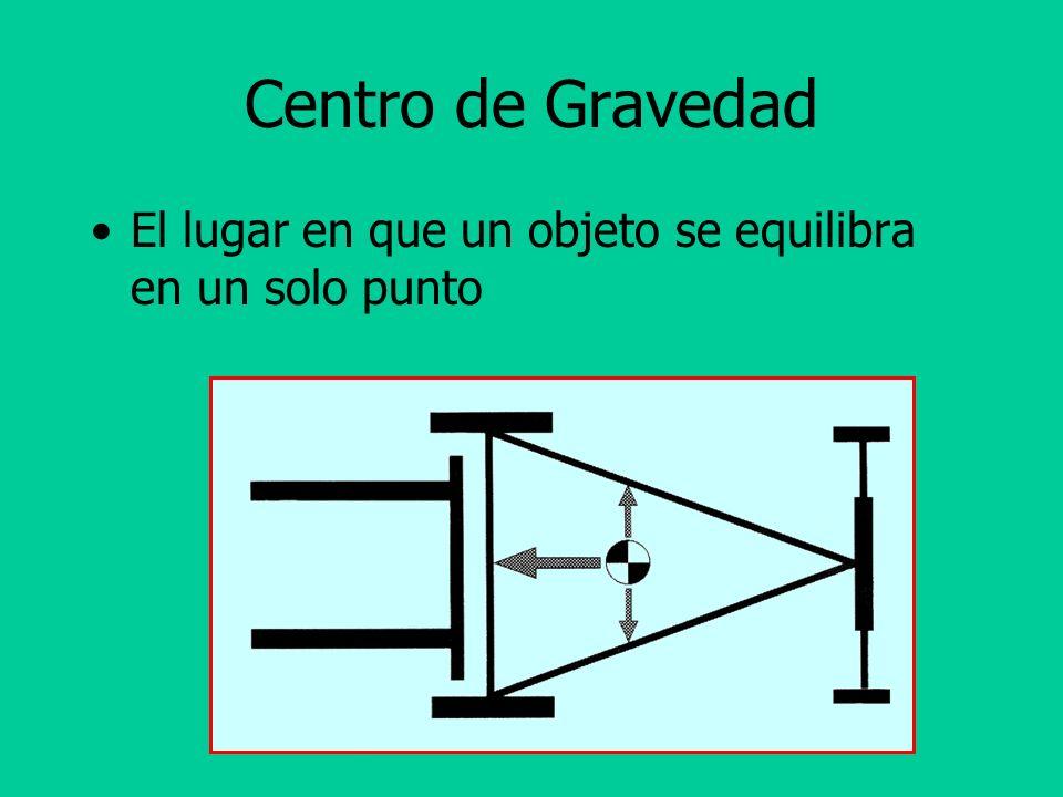 Centro de Gravedad El lugar en que un objeto se equilibra en un solo punto.
