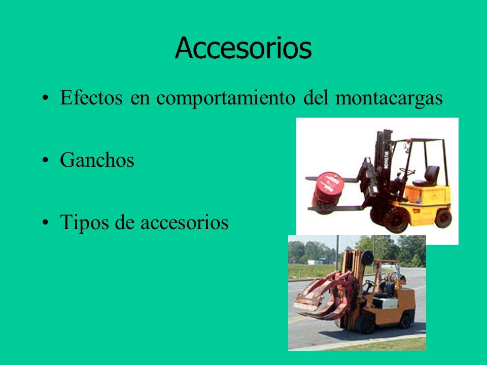 Accesorios Efectos en comportamiento del montacargas Ganchos