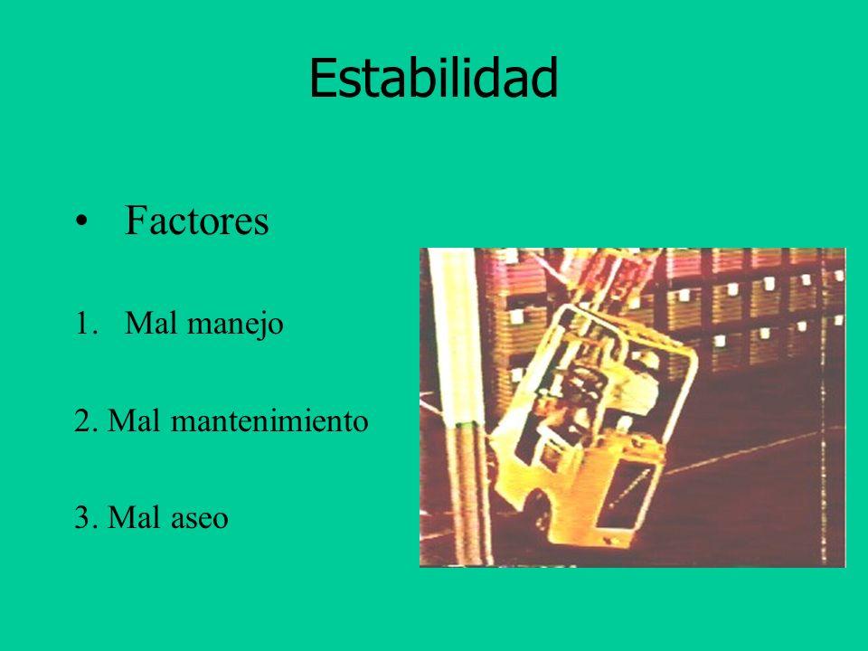 Estabilidad Factores Mal manejo 2. Mal mantenimiento 3. Mal aseo