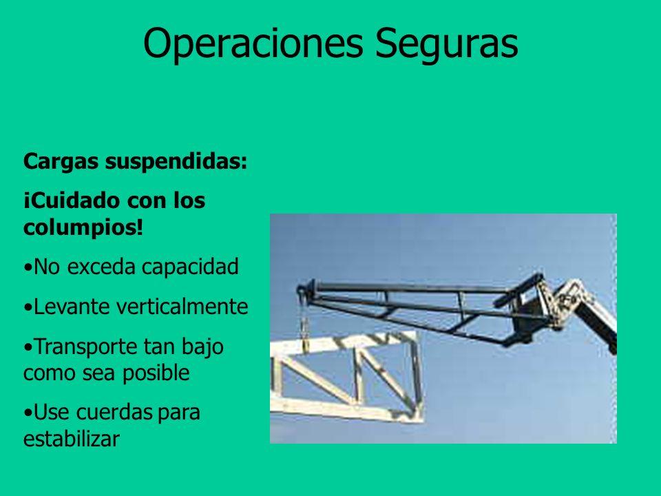 Operaciones Seguras Cargas suspendidas: ¡Cuidado con los columpios!