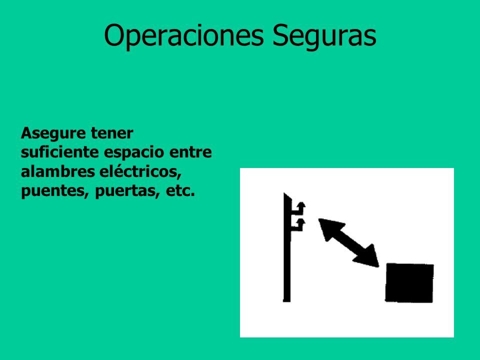 Operaciones Seguras Asegure tener suficiente espacio entre alambres eléctricos, puentes, puertas, etc.
