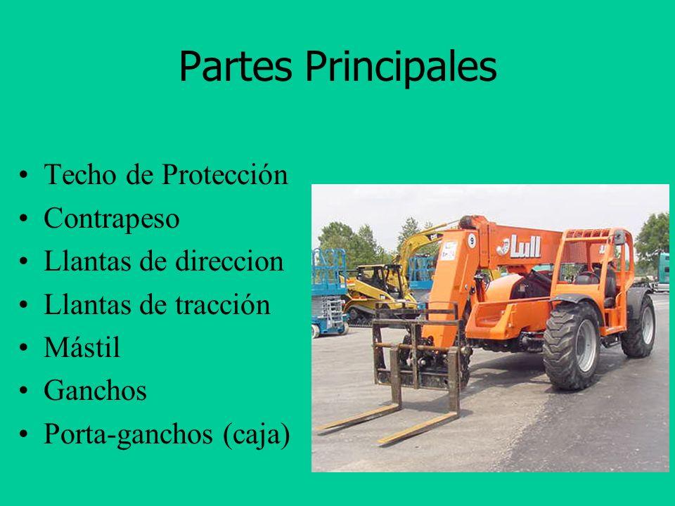 Partes Principales Techo de Protección Contrapeso Llantas de direccion