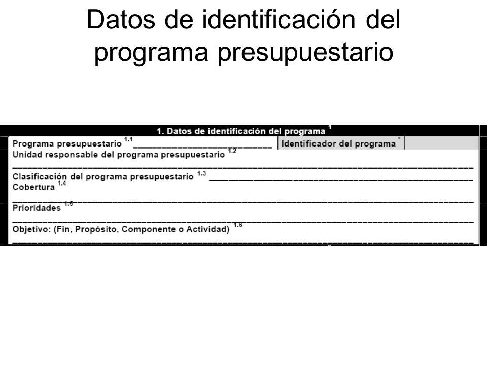 Datos de identificación del programa presupuestario
