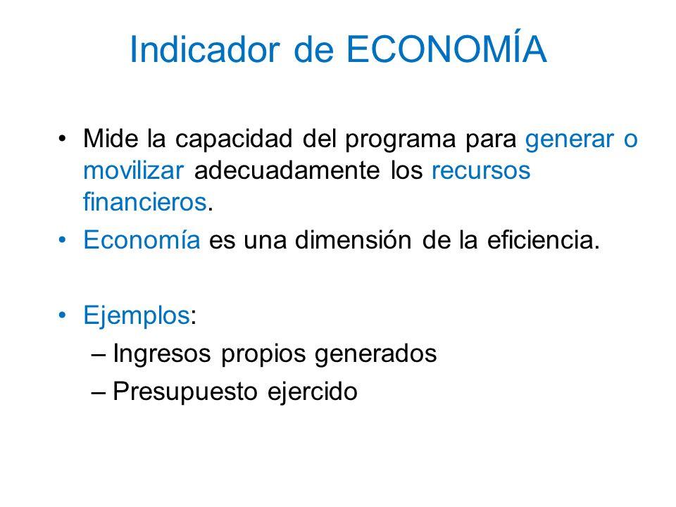 Indicador de ECONOMÍA Mide la capacidad del programa para generar o movilizar adecuadamente los recursos financieros.