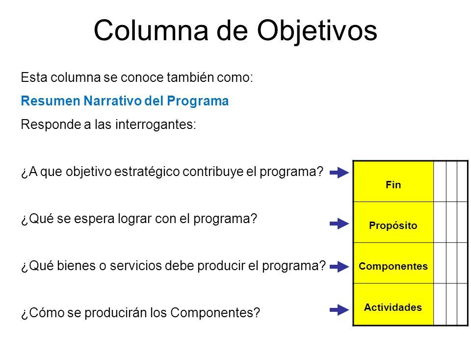 Columna de Objetivos Esta columna se conoce también como: