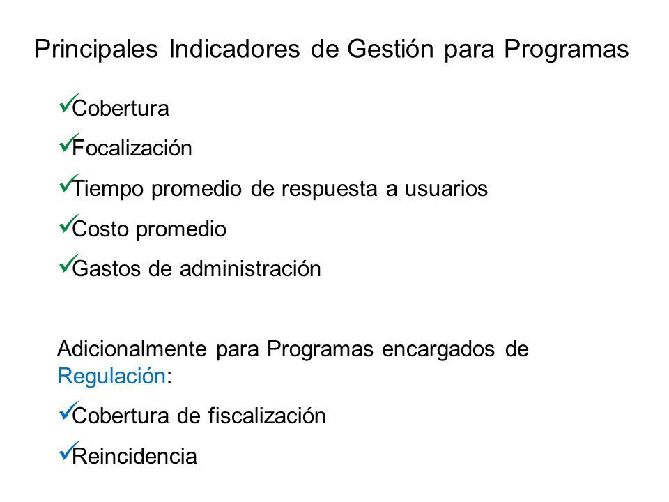 Principales Indicadores de Gestión para Programas