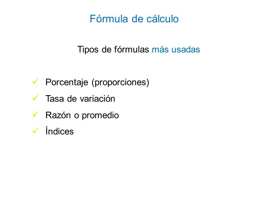 Tipos de fórmulas más usadas