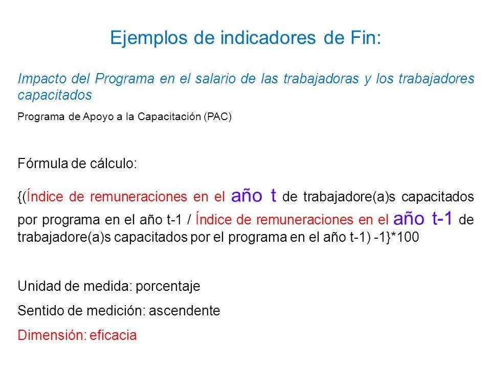 Ejemplos de indicadores de Fin: