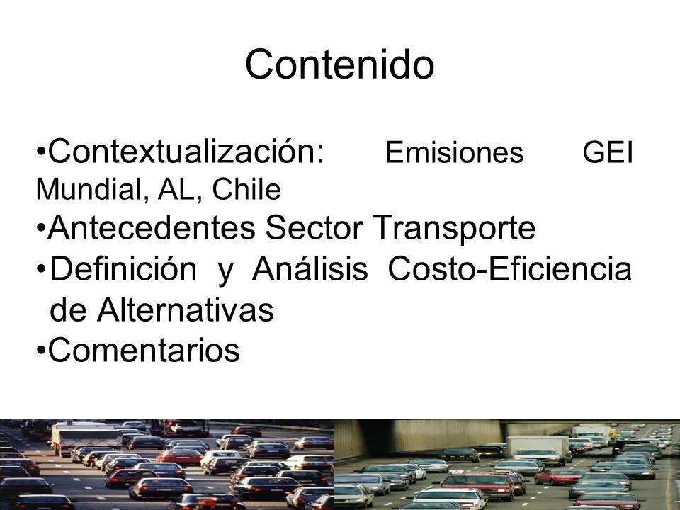 Contenido Contextualización: Emisiones GEI Mundial, AL, Chile