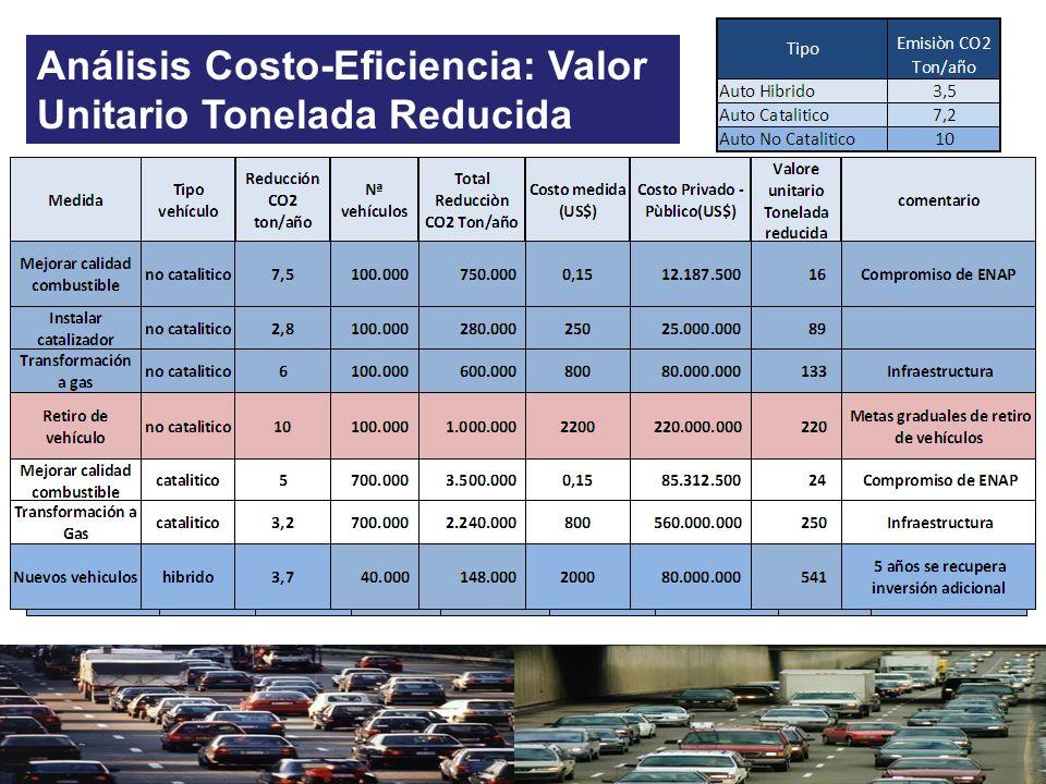 Análisis Costo-Eficiencia: Valor Unitario Tonelada Reducida