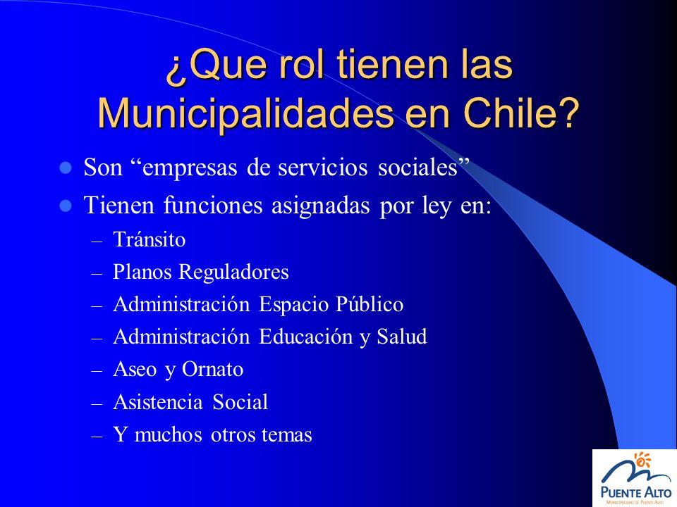 ¿Que rol tienen las Municipalidades en Chile