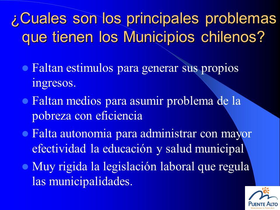 ¿Cuales son los principales problemas que tienen los Municipios chilenos