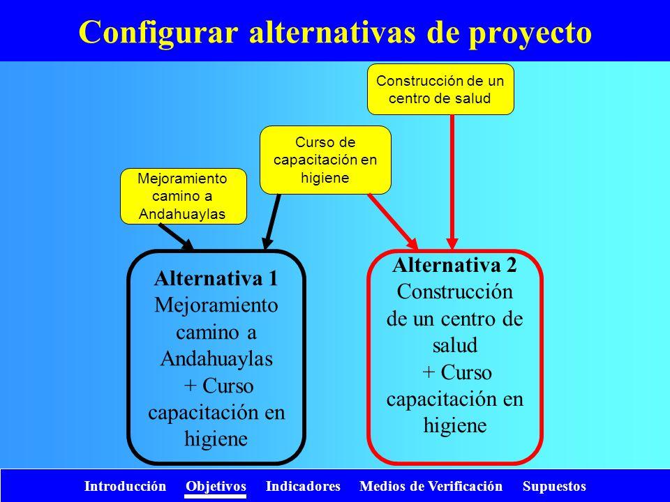 Configurar alternativas de proyecto