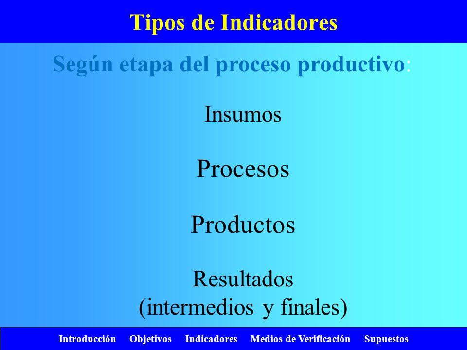 Procesos Productos Tipos de Indicadores