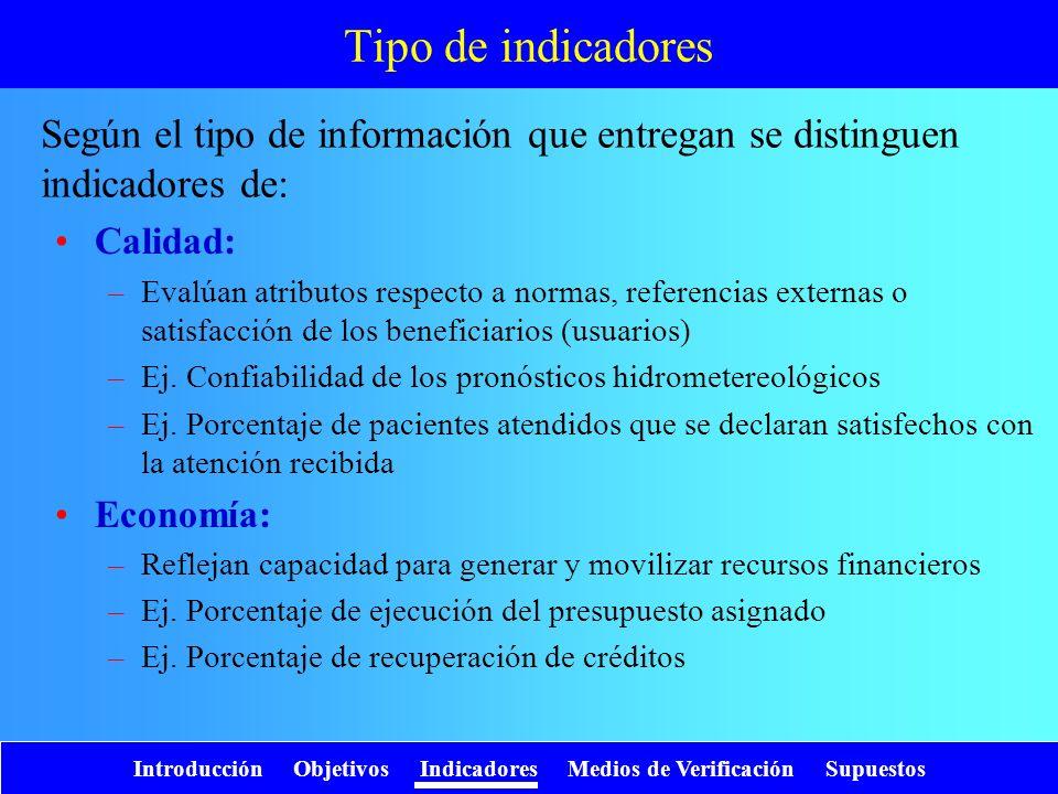 Tipo de indicadores Según el tipo de información que entregan se distinguen indicadores de: Calidad: