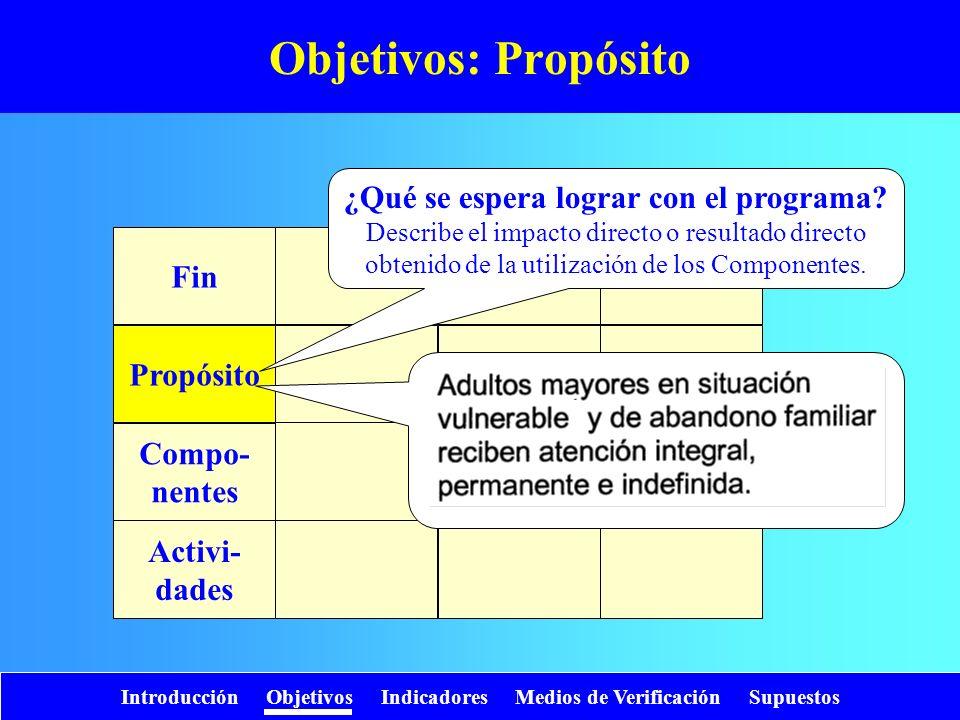 Objetivos: Propósito ¿Qué se espera lograr con el programa Fin