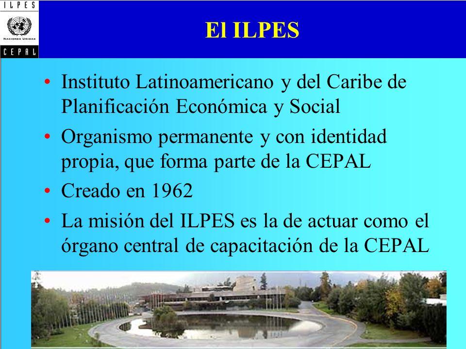 El ILPES Instituto Latinoamericano y del Caribe de Planificación Económica y Social.