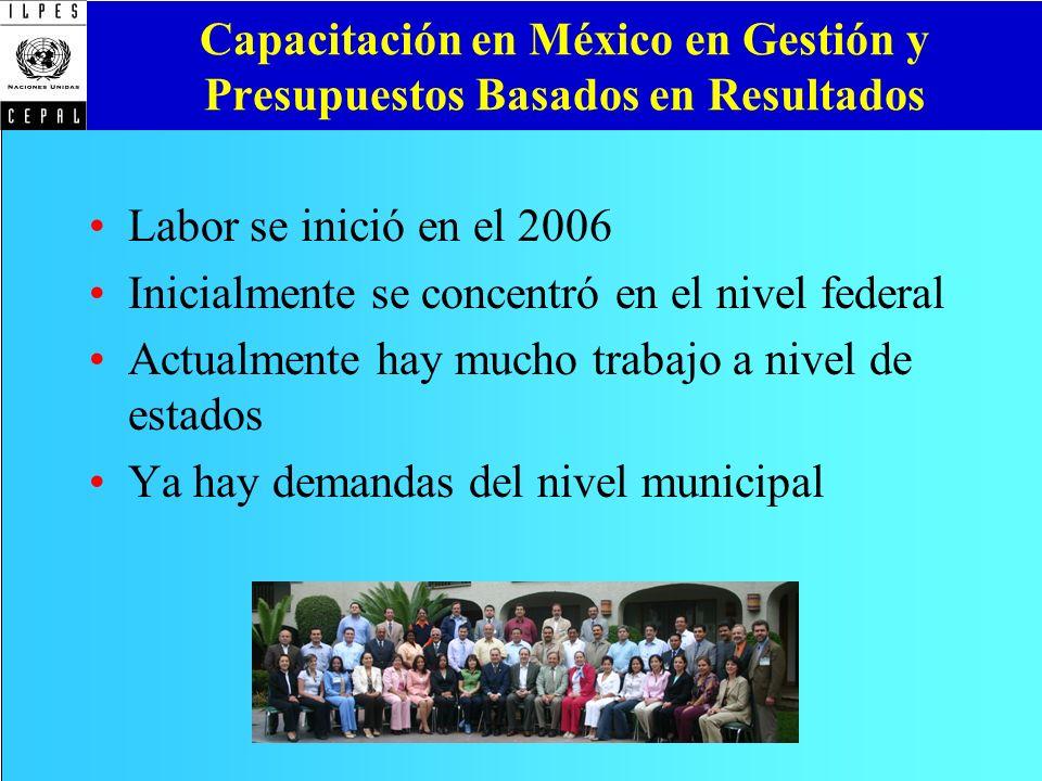 Capacitación en México en Gestión y Presupuestos Basados en Resultados