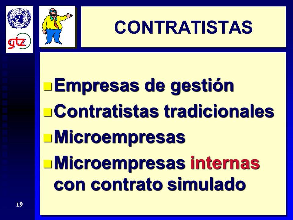 CONTRATISTAS Empresas de gestión. Contratistas tradicionales.