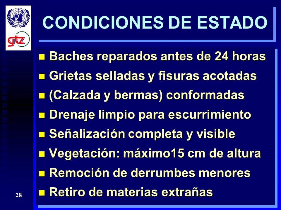 CONDICIONES DE ESTADO Baches reparados antes de 24 horas