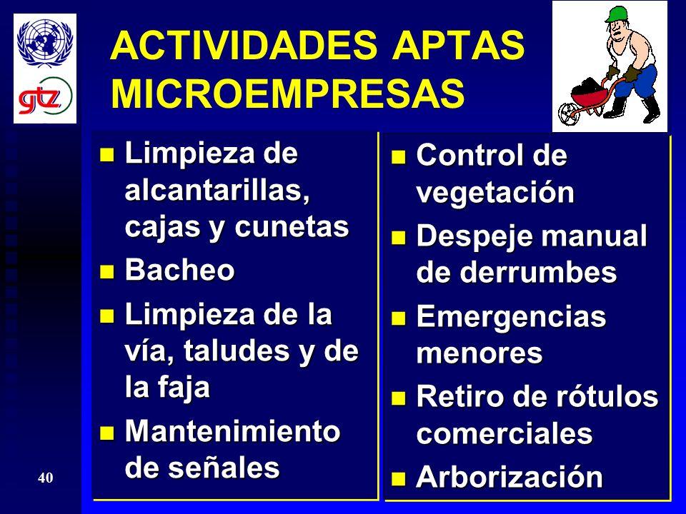 ACTIVIDADES APTAS MICROEMPRESAS