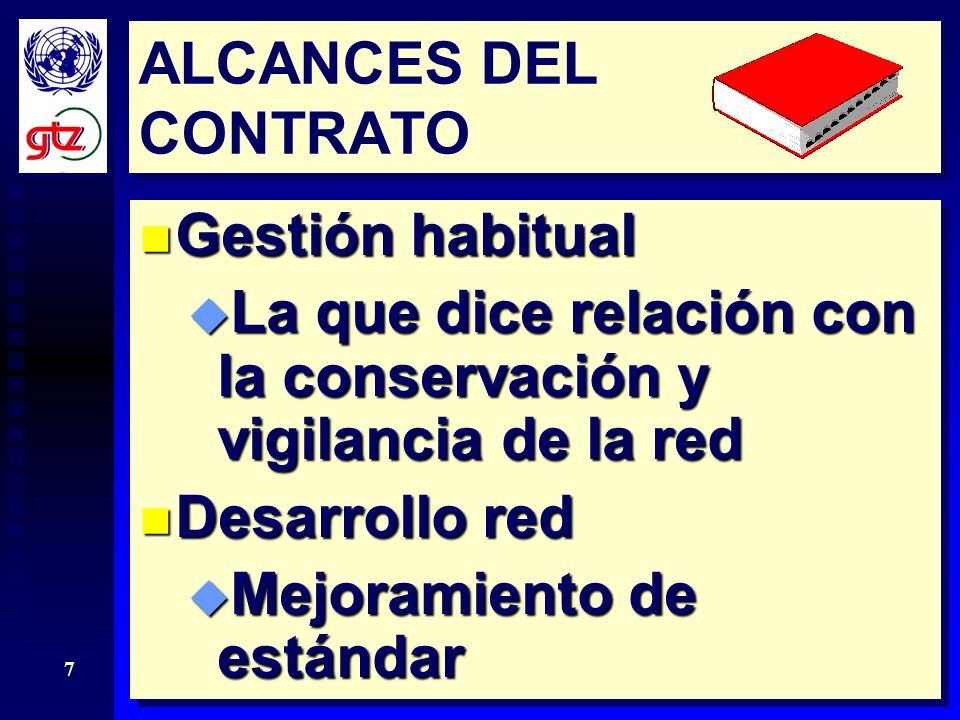 ALCANCES DEL CONTRATO Gestión habitual. La que dice relación con la conservación y vigilancia de la red.
