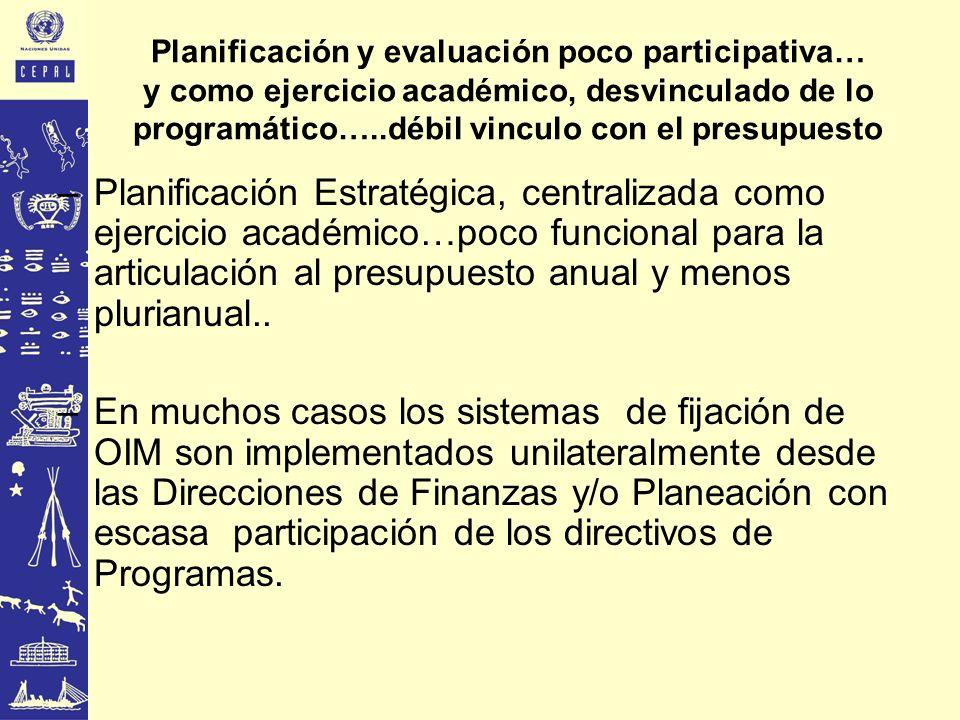 Planificación y evaluación poco participativa… y como ejercicio académico, desvinculado de lo programático…..débil vinculo con el presupuesto
