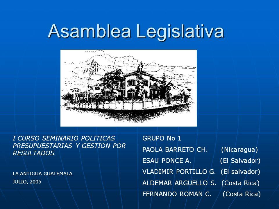 Asamblea Legislativa I CURSO SEMINARIO POLITICAS PRESUPUESTARIAS Y GESTION POR RESULTADOS. LA ANTIGUA GUATEMALA.