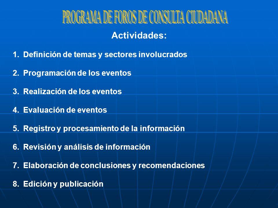PROGRAMA DE FOROS DE CONSULTA CIUDADANA
