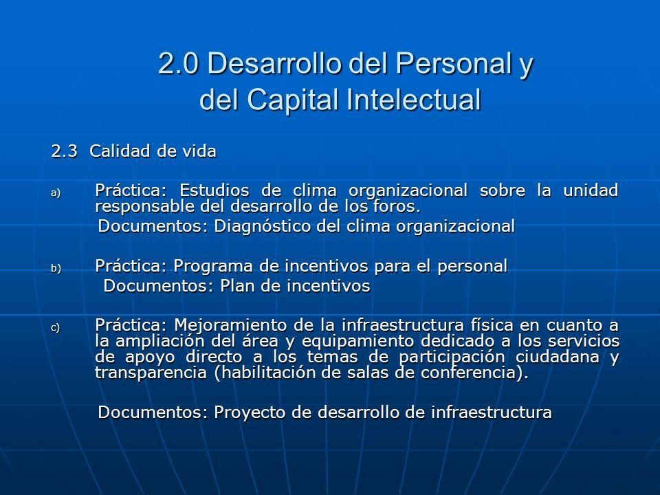 2.0 Desarrollo del Personal y del Capital Intelectual