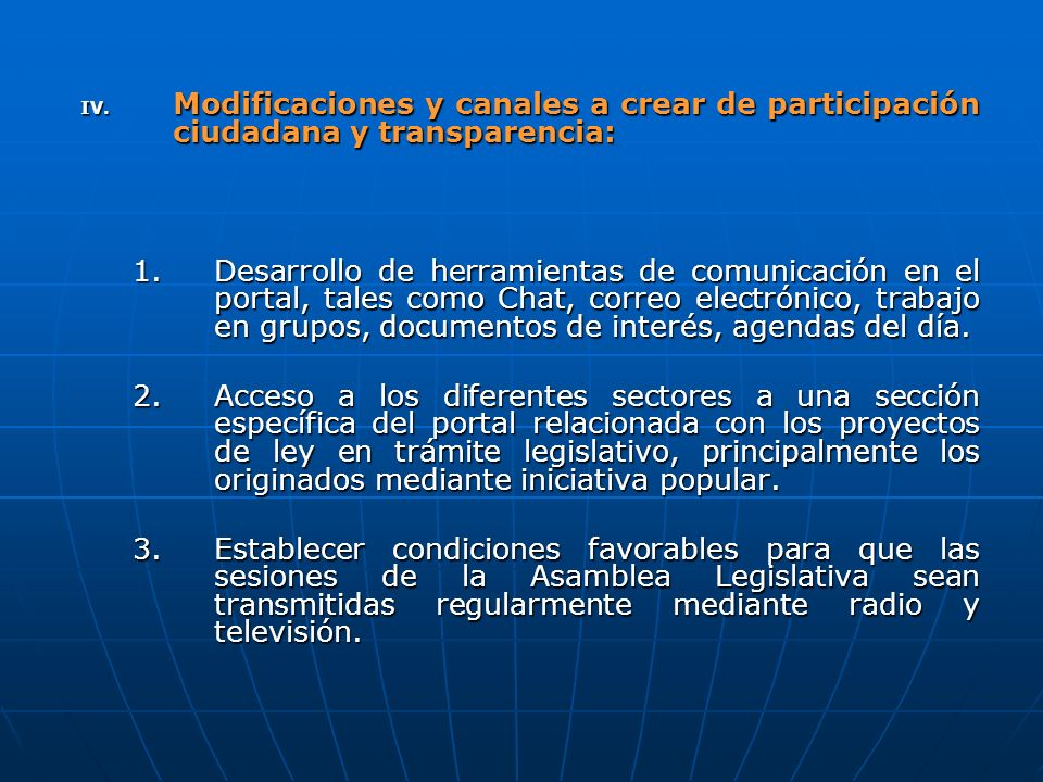 Modificaciones y canales a crear de participación ciudadana y transparencia: