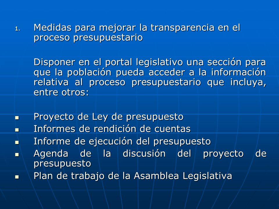 Medidas para mejorar la transparencia en el proceso presupuestario