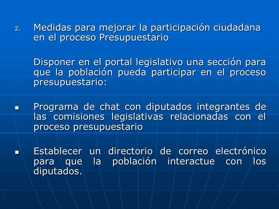 Medidas para mejorar la participación ciudadana en el proceso Presupuestario