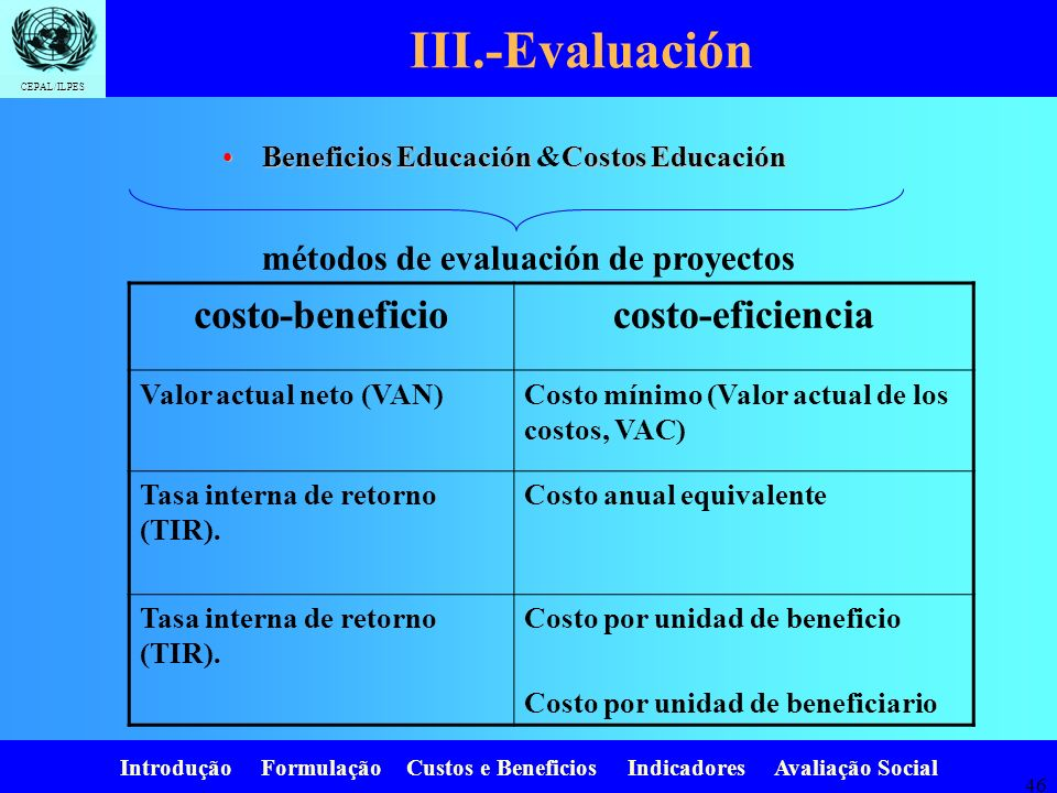 III.-Evaluación costo-beneficio costo-eficiencia